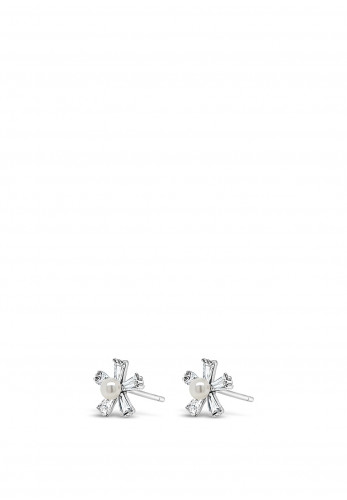 Absolute Holy Communion Silver Flower with Pearl Earrings, HCE420