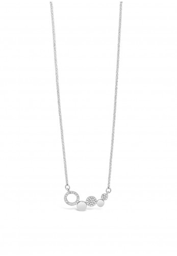 Absolute Silver Linking Discs Necklace, JP237SL
