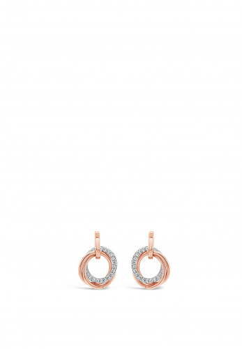 Absolute Rose Gold Linking Rings Stud Earrings, JE240RS