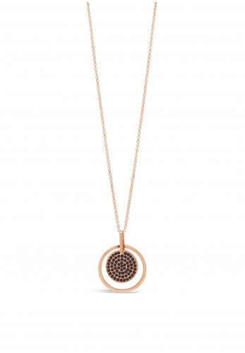 Absolute Rose Gold Necklace with Black Diamante Disk