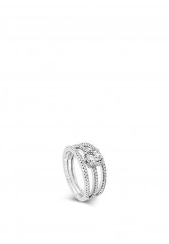 Absolute Sterling Silver 3 Row Pave Ring, SR104SL