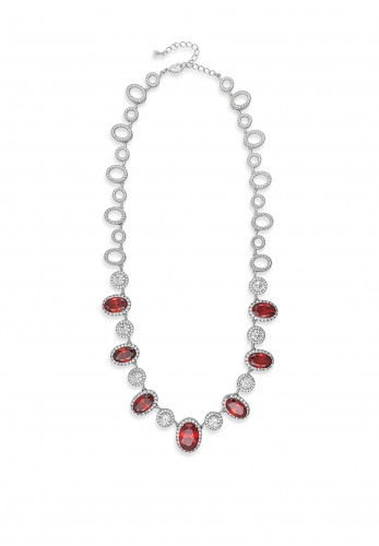 Absolute Silver Necklace with Large Red & White Crystal Stone Settings