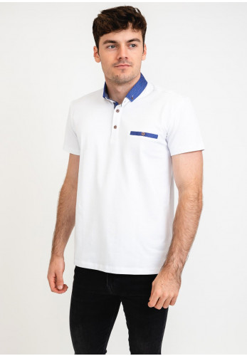 Advise Contrasted Polo Shirt, White