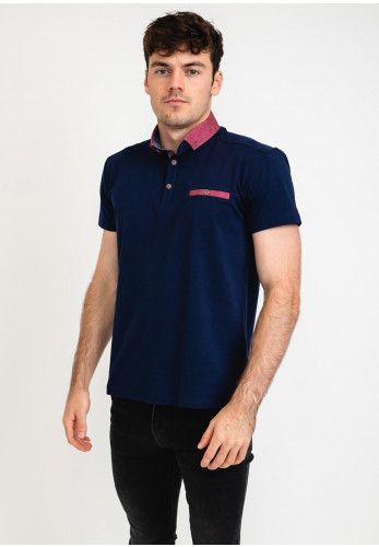 Advise Contrasted Polo Shirt, Navy
