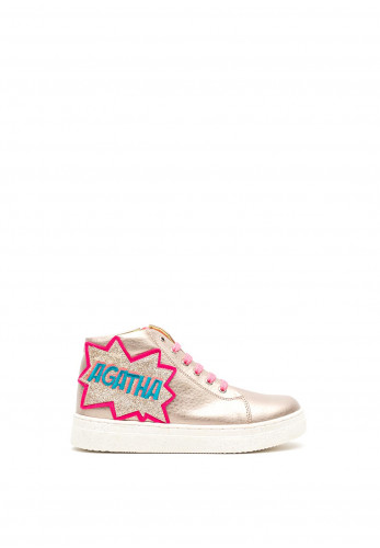 Agatha Ruiz de la Prada Leather High Top Trainers, Gold