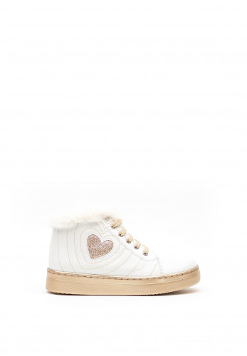 Agatha Ruiz de la Prada Faux Fur Trim High Top Trainers, White
