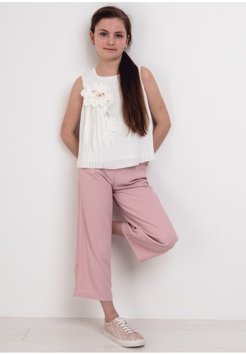Alice Pi Pleated Top and Belted Culottes, Pink