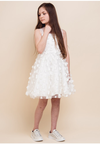 Alice Pi Fabric Flower Tulle Dress, White