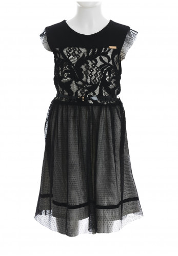 Alice Pi Lace Belted Skater Dress, Black