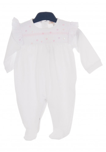 Mintini Baby Sequin Frill Romper Suit, White