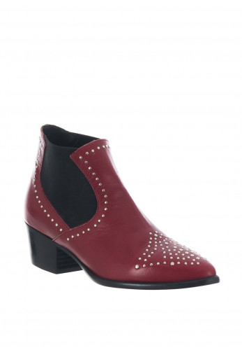 Alpe Leather Stud Western Chelsea Boots, Red