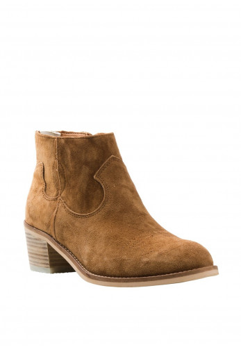 Alpe Suede Western Zip Back Ankle Boots, Tan