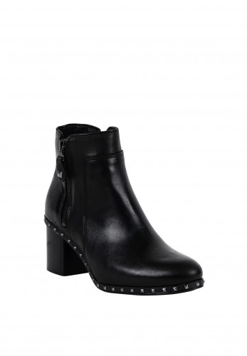 Alpe Leather Studded Ankle Boots, Black