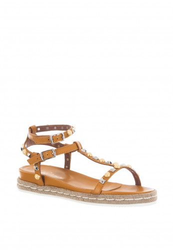 Alpe Leather Studded Sandals, Mustard