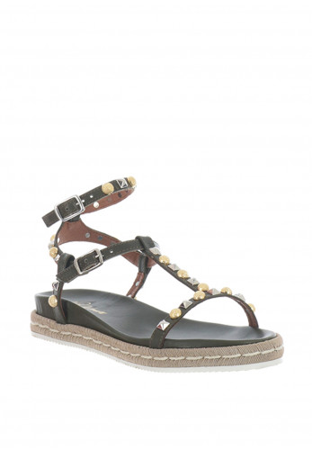 Alpe Leather Studded Sandals, Green