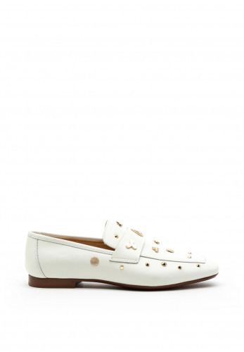 Alpe Leather Studded Loafers, White