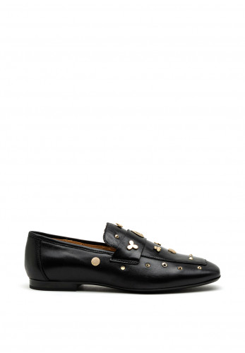Alpe Leather Studded Loafers, Black