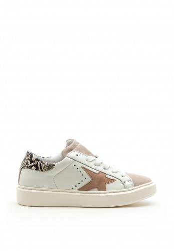 Alpe Leather Suede Star Trainers, White