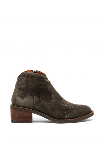Alpe Suede Western Zip Back Ankle Boots, Green