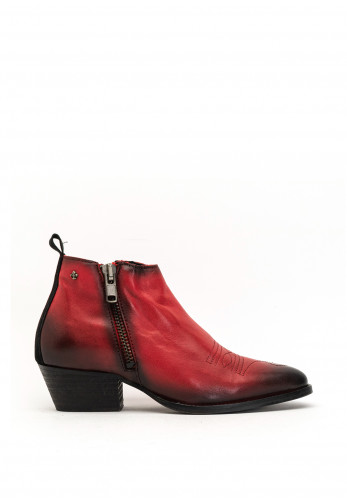 Amy Huberman Notting Hill Leather Embroidered Boots, Red