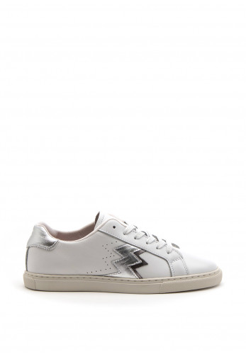 Amy Huberman Cool As Ice Silver ZigZag Detail Trainer, White