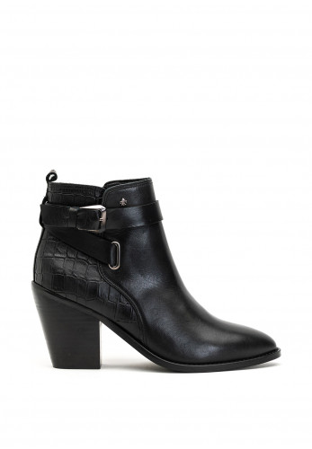 Amy Huberman Bourbon Friends Croc Leather Boots, Black