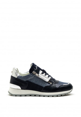 Amy Huberman Jerry Maguire Leather Mix Trainer, Denim Multi