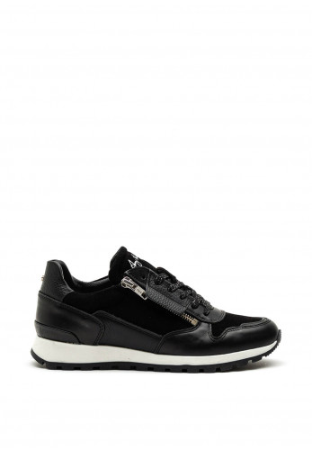 Amy Huberman Jerry Maguire Leather Mix Trainer, Black