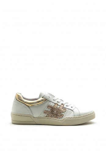 Amy Huberman Just Married Hashtag Design Leather Trainer, White