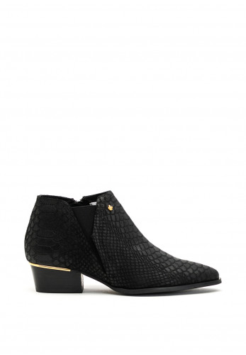 Amy Huberman Bourbon Titanic Croc Leather Ankle Boots, Black