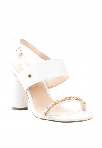 Amy Huberman Batchelor Mother Heel Sandals, White