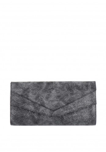 Ana Roman Metallic Envelope Clutch Bag, Black
