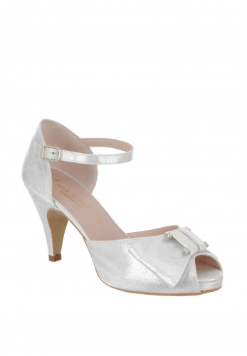 Ana Roman Shimmer Bow Heeled Sandals, Silver