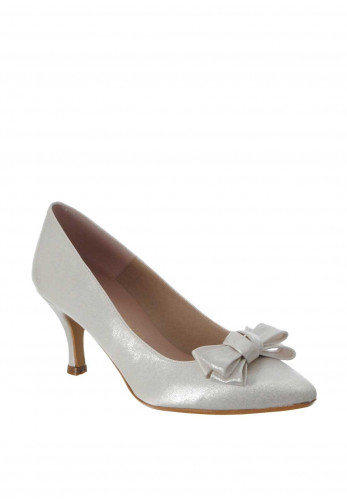 Ana Roman Bow Pointed Heeled Shoes, Ivory