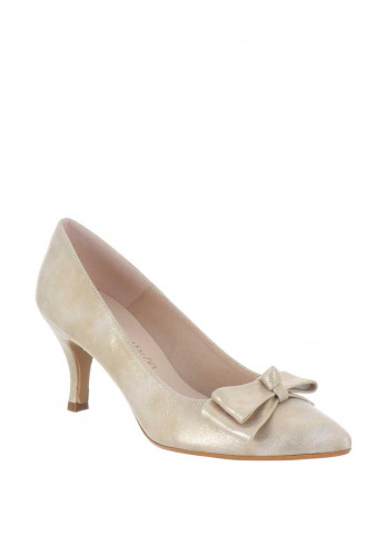 Ana Roman Bow Pointed Heeled Shoes, Gold