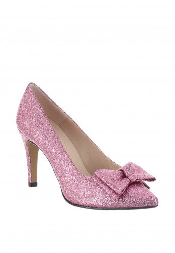 Ana Roman Metallic Bow Heeled Court Shoes, Pink
