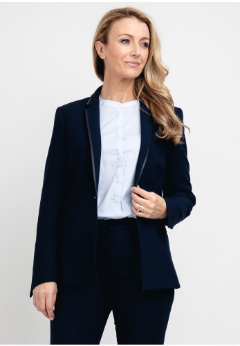 Ana Sousa Satin Trim Blazer Jacket, Navy