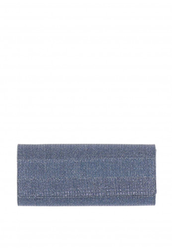 Ana Roman Metallic Woven Clutch Bag, Navy
