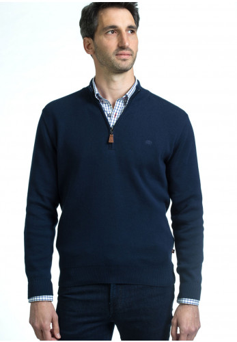 Andre Clifden Cotton Half Zip Sweater, Navy