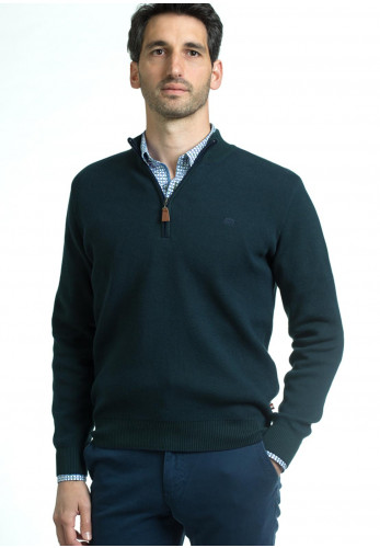 Andre Clifden Cotton Half Zip Sweater, Forest