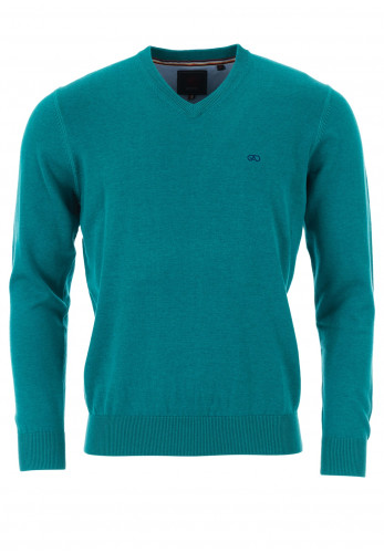 Andre Valencia Cotton V-Neck Sweater, Aqua