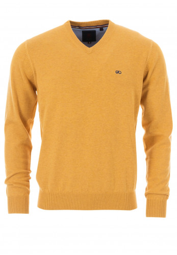 Andre Valencia Cotton V-Neck Sweater, Gold