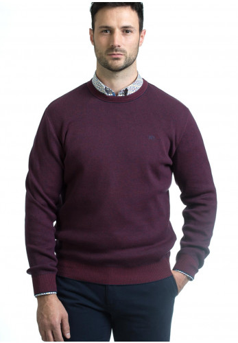 Andre Rush Cotton Crew Neck Sweater, Burgundy
