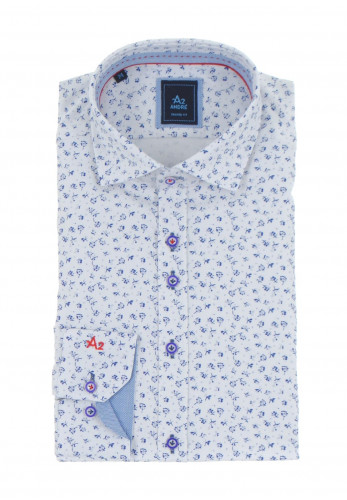 Andre A2 Bremen Shaped Floral Print Shirt, Navy