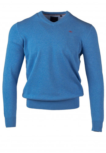 Andre Valencia Cotton V-Neck Sweater, Blue