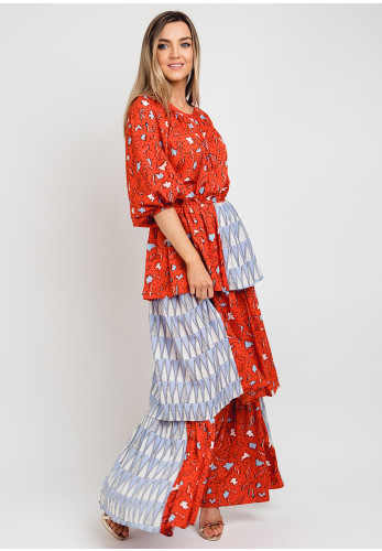 Anonyme Deborah Printed Ruffled Maxi Dress, Red