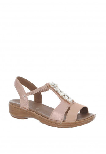 Ara Pearl Leather Embellished Sandals, Pink