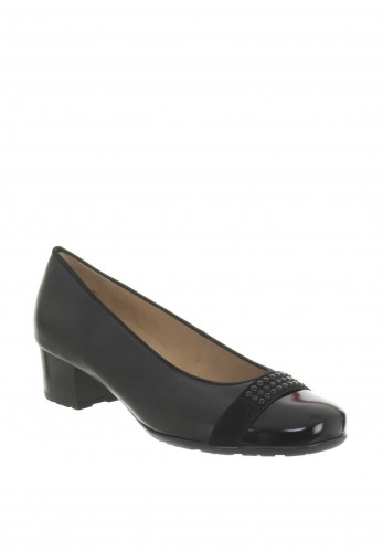Ara Leather Block Heel Pumps, Black