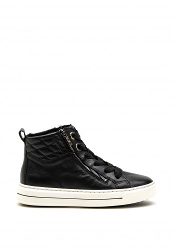 Ara Quilted Detail Dual Zip High Top Trainers, Black