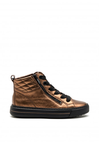 Ara Quilted Detail Dual Zip High Top Trainers, Bronze